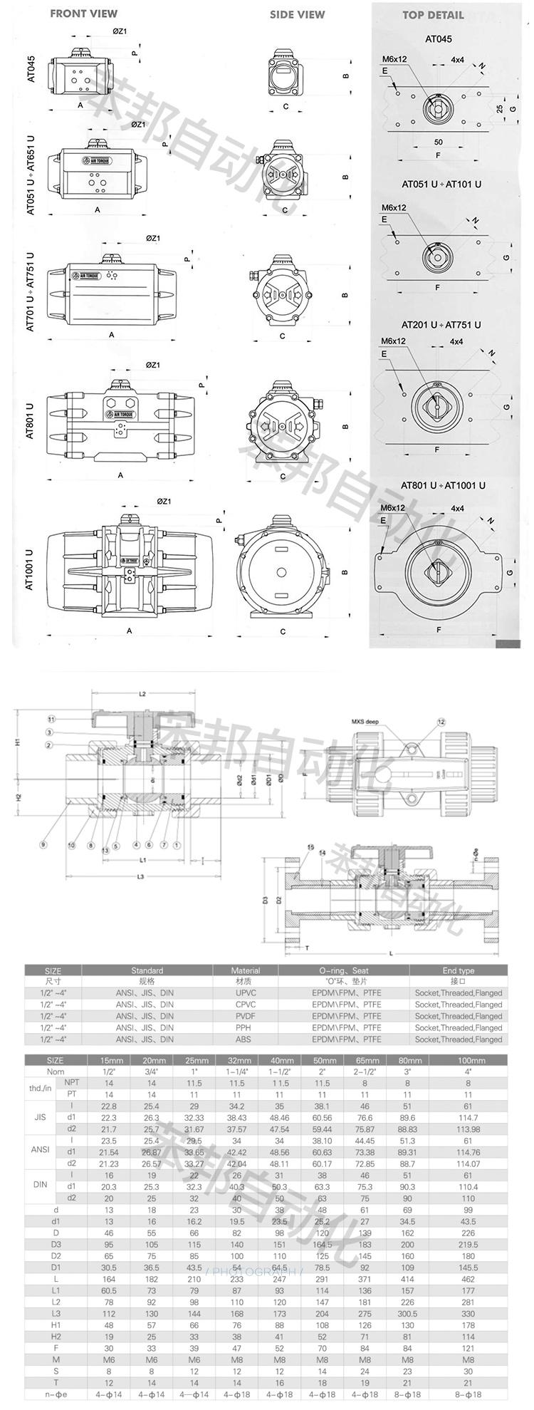 AIRTORQUE气动PVC/UPVC球阀参数