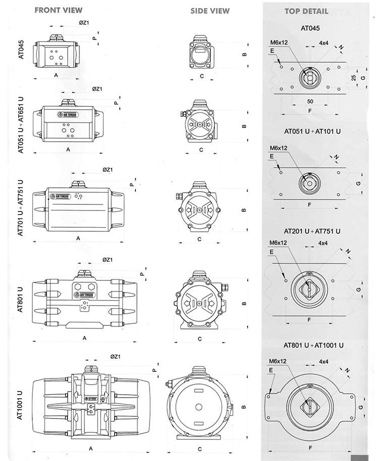 AIRTORQUE气动执行器结构图