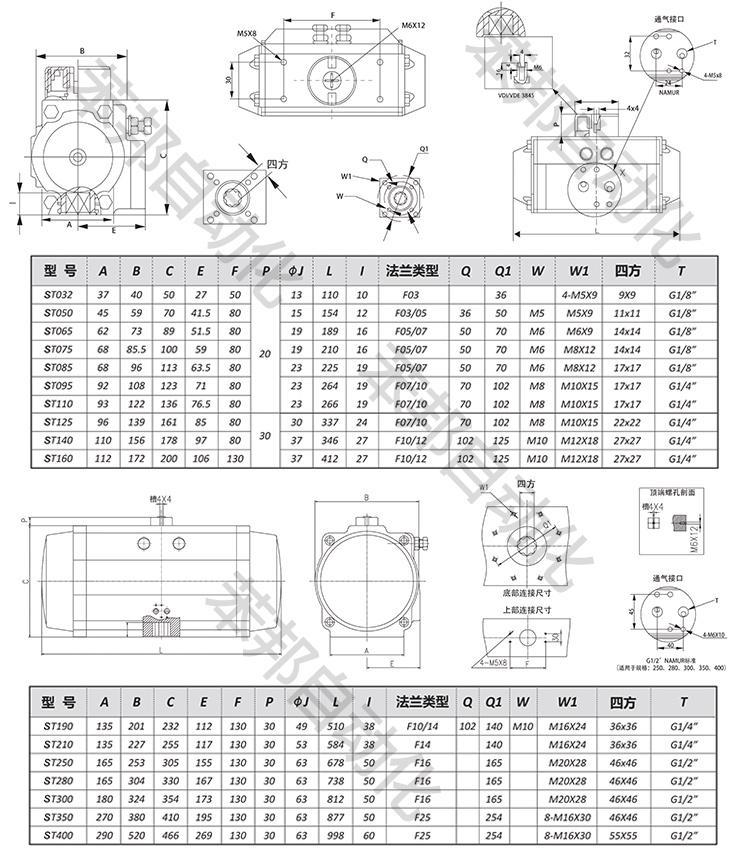 SEFORT气动执行器尺寸