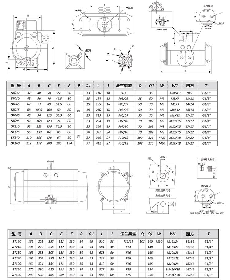 SEFORT气动执行器尺寸参数
