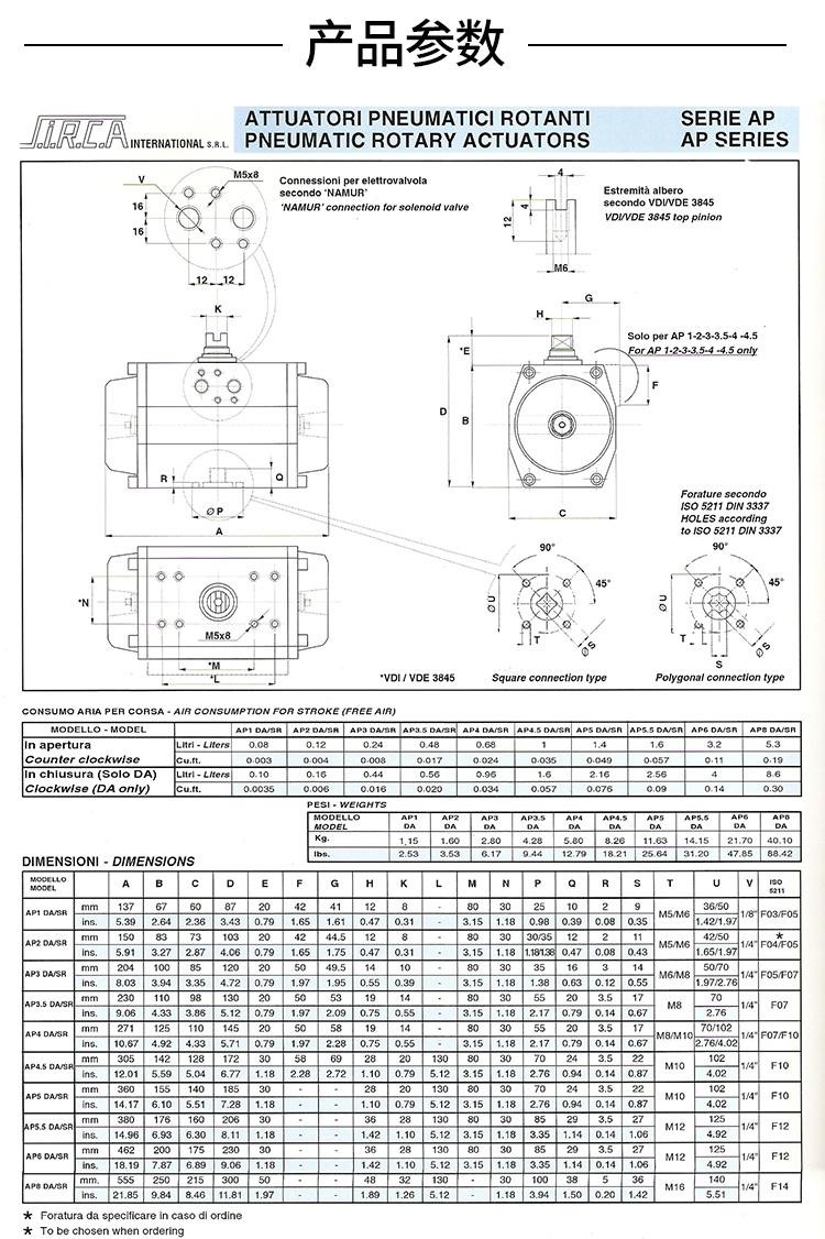 SIRCA气动执行器尺寸图