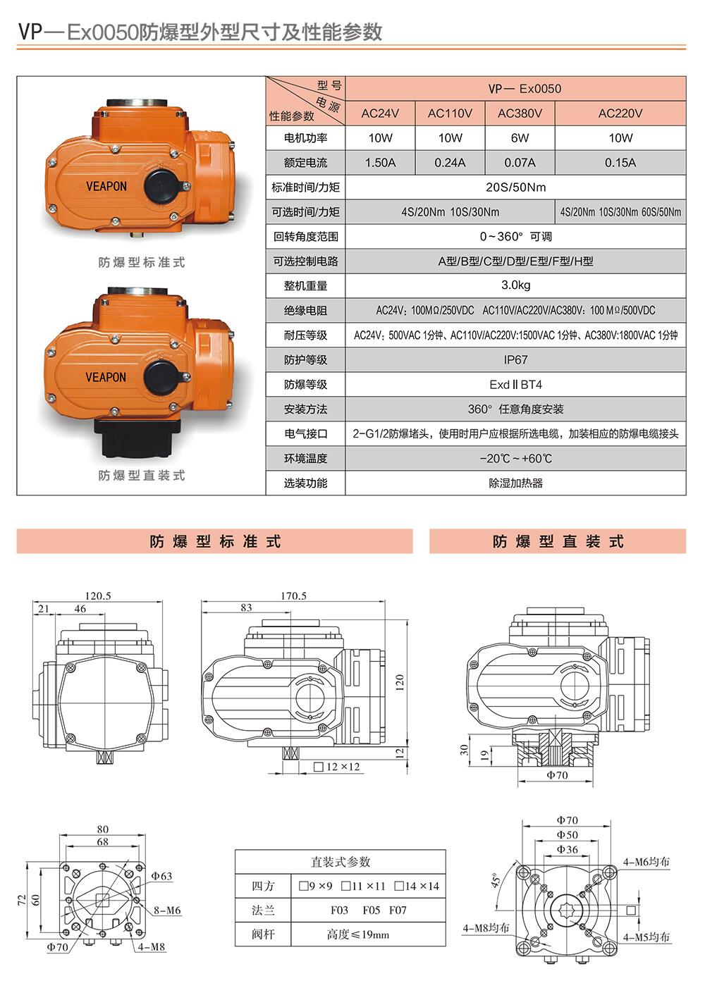 VEAPON防爆电动执行选型