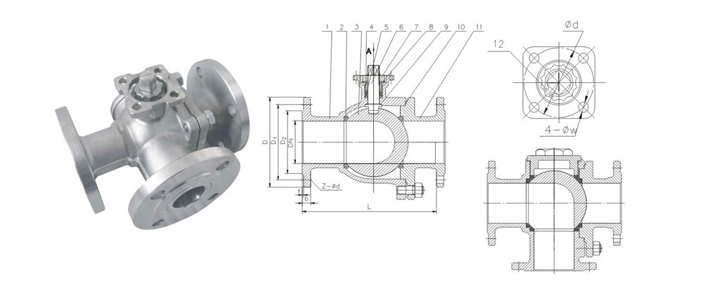 VEAPON电动三通法兰球阀结构图