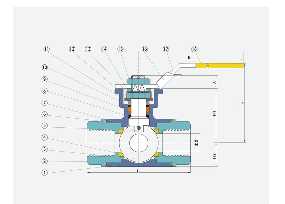 三通螺纹球阀结构图