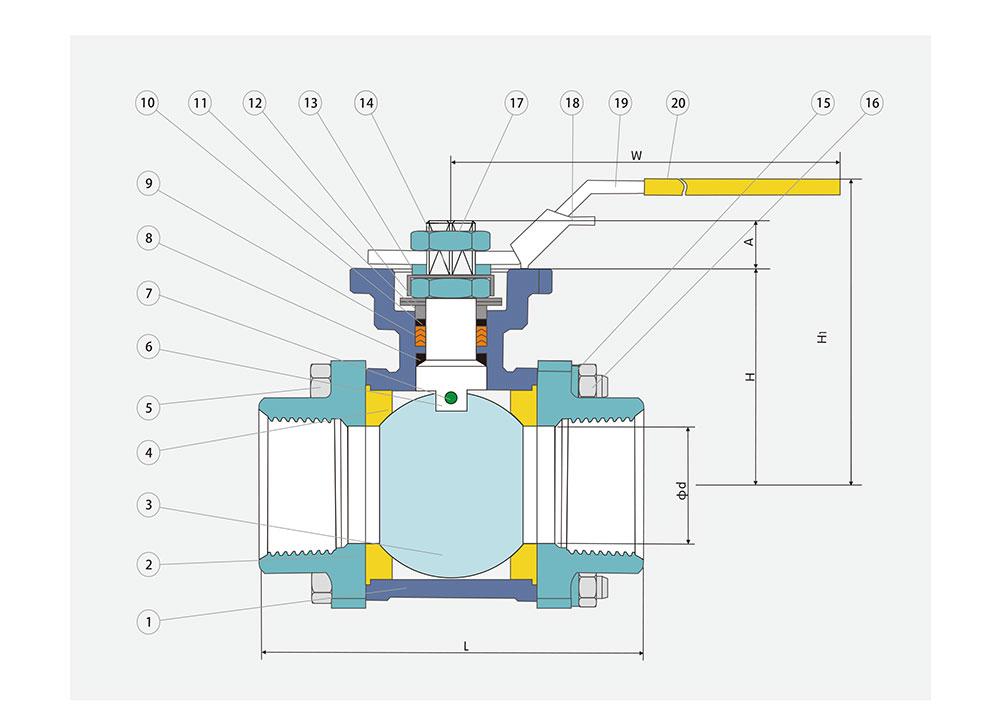 丝口球阀/螺纹球阀结构图