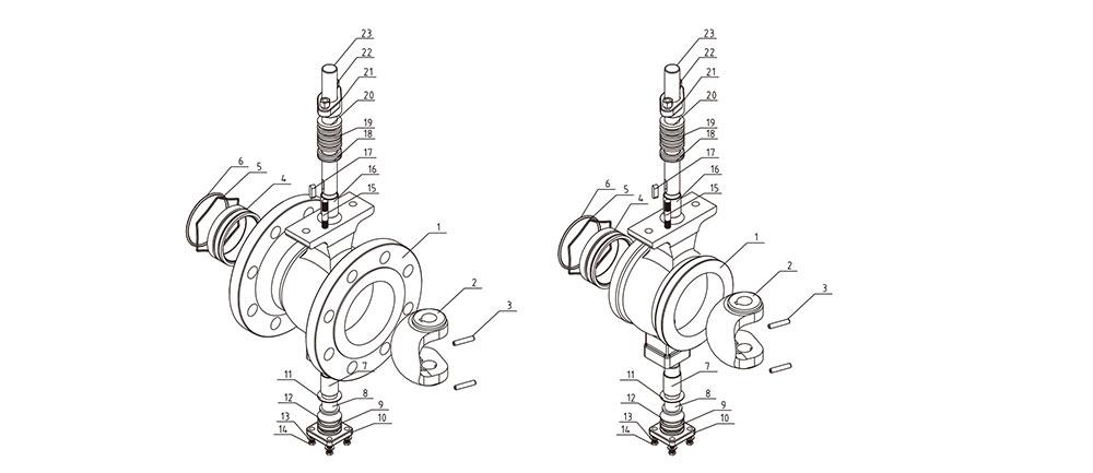 调节阀/法兰V型球阀结构图