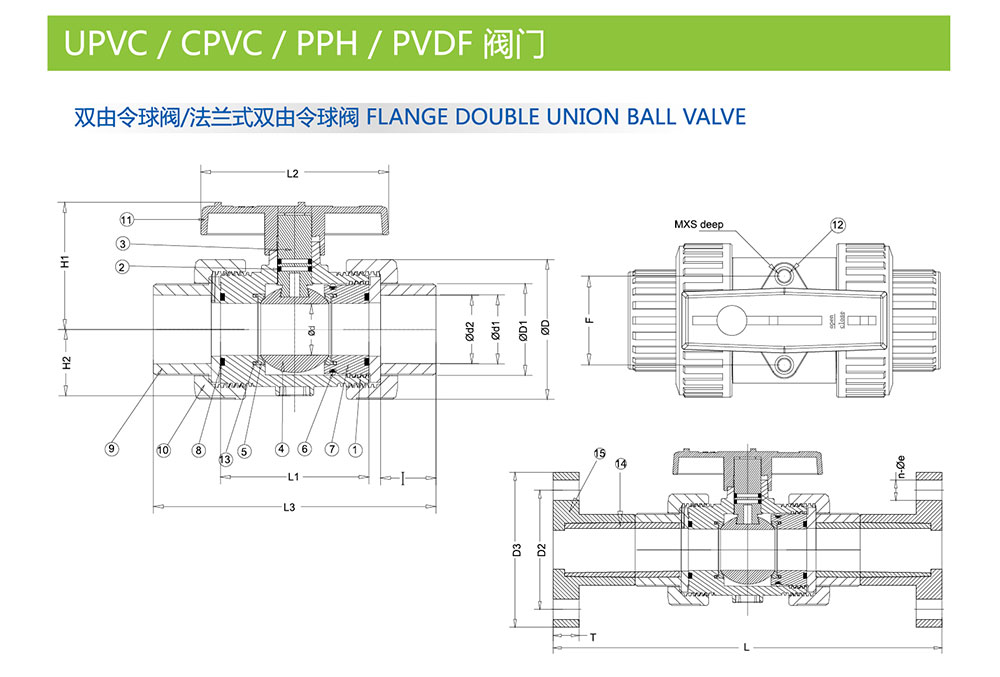 UPVC球阀结构图