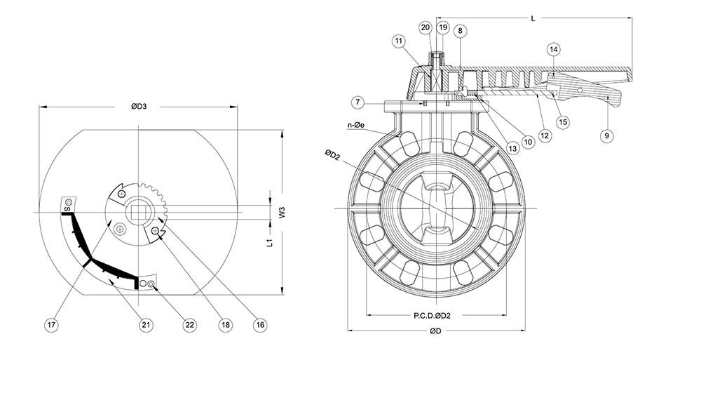 PVC/UPVC蝶阀结构图