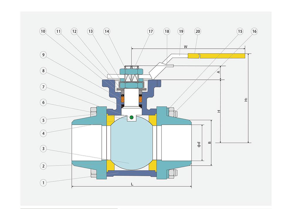 对焊球阀结构图