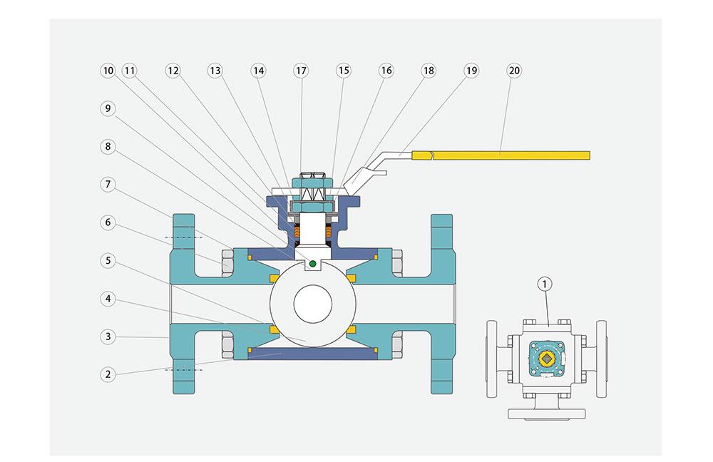 三通法兰球阀/不锈钢结构图
