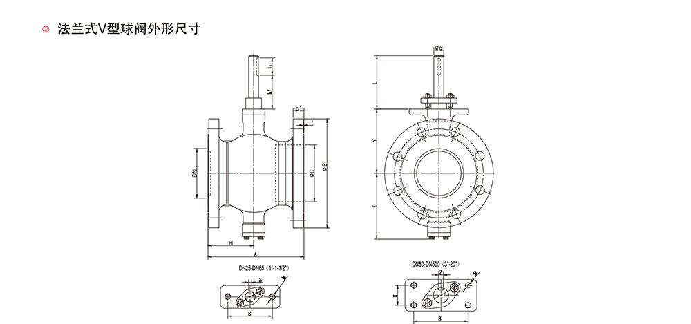 V型球阀/法兰球阀结构图